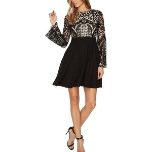 Aidan Mattox Black Lace Long Sleeve A-line Dress